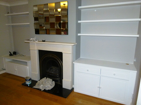 Bloomsbury-WC1 Fitted Alcove Media Cabinets
